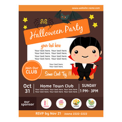 halloween party poster with dracula costume