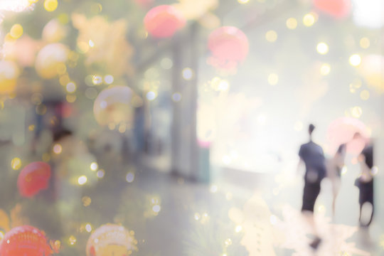Abstract background of shopping mall with color bokeh circles for Christmas