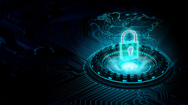 Internet security and information technology concept