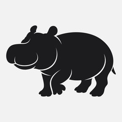 Cartoon hippo silhouette isolated on white background