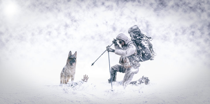 Rescue in the snow with German shepherd dog and firefighter mountaineer - 3d Illustration
