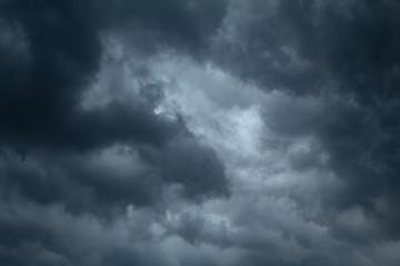 Black rain clouds in the sky.