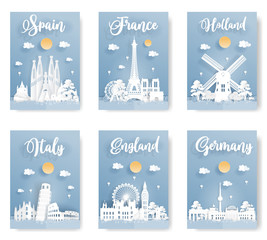 Fototapete - Set of travel postcard and poster of world famous landmark, Spain, Italy, England, France, Holland and Germany, in paper origami style with blue background. Vector illustration.