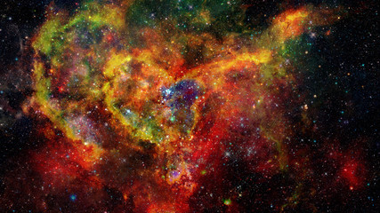 Landscape of star clusters in space. Elements of this image furnished by NASA.