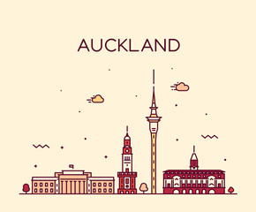 Wall Mural - Auckland city skyline New Zealand vector linear