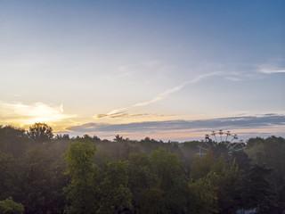 amusement park skyline in sunrise time. aerial view