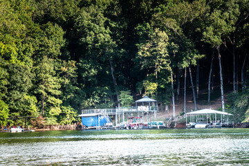 Waterfront properties and boating dock in Lake Lanier