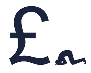 Silhouette of man in prayer pose. Man and symbol of pound currency