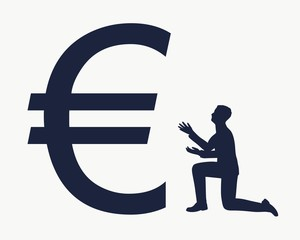 Silhouette of man in prayer pose. Man and symbol of euro currency