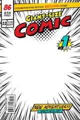 Comic book cover. Vector illustration style cartoon.