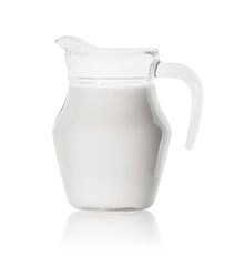 Glass decanter with fresh milk