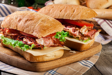 Ciabatta sandwich with smoked bacon and other