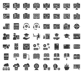 e learning and educated online icon set, solid or glyph design