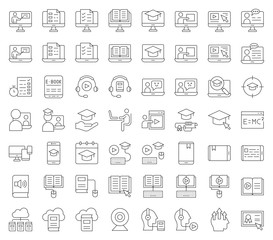 e learning and educated online icon set, outline editable stroke