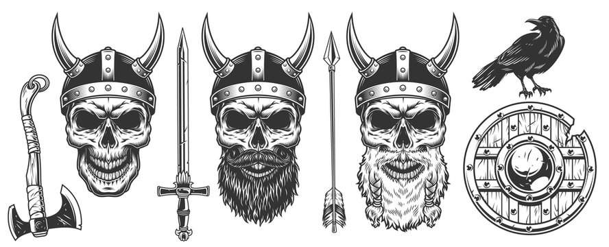 Set of viking warriors