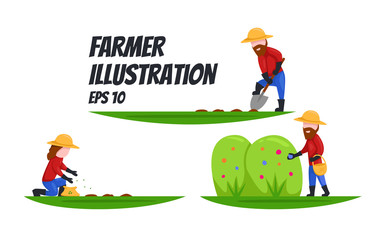 Farmer shoving, seeding, plant seed, harvest illustration set flat cartoon style