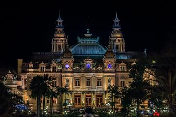 Monaco Grand Casino in Monte Carlo at night with illuminated facade Wall mural