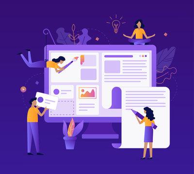 A team of web developers designs a news portal or information website. Website development. Flat vector illustration.