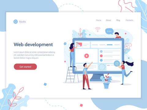 Web banner design template. The team of web developers design website. Teamwork project. Website development. Easy to edit and customize. Flat vector illustration.