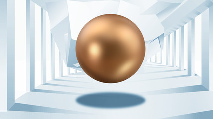 Abstract bronze ball hanging in the air on the background of the columns. 3D illustration.