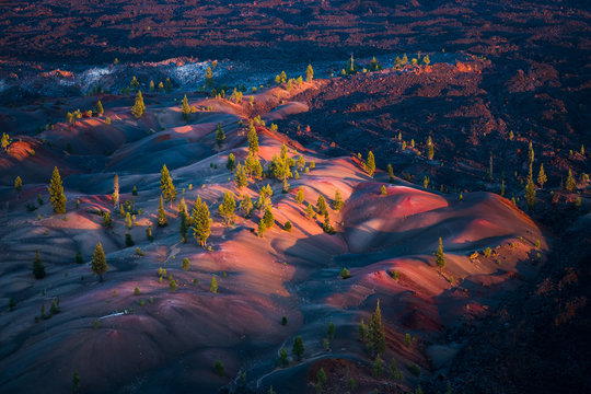 Colorful Painted Dunes, Lava Beds, Badland Formation, and Pine Trees in Lassen Volcanic National Park in Northern California During Sunset