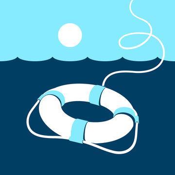 Ring lifebuoy and sea. Vector illustration. Blue. Dark blue. White.