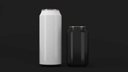 Big white and small black gold soda cans mockup