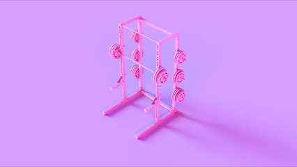 Pink Barbell Tree Stand 3d illustration 3d rendering