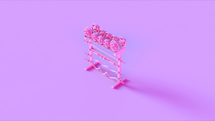 Pink Barbell Dumbbell Rack 3d illustration 3d rendering