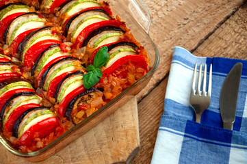 Ratatouille - Traditional Dish Of Provencal Cuisine. Healthy Vegetable Food. Wooden Background