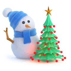 Vector 3d Snowman has a nice Christmas tree
