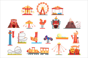 Amusement park elements set, funfair attraction colorful cartoon vector Illustrations Fotobehang