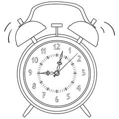 Coloring, black and white. Alarm clock raster illustration