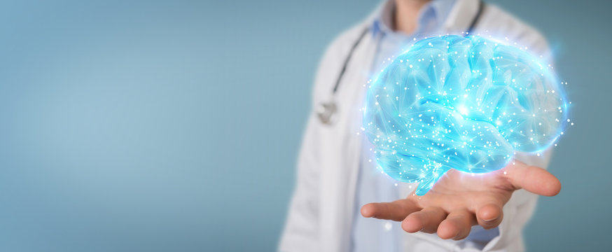 Doctor using digital brain scan hologram 3D rendering