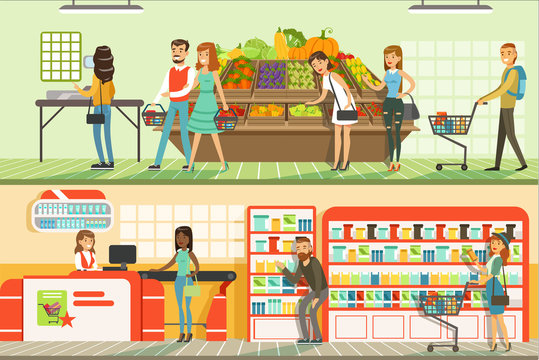People in supermarket horizontal colorful banners set, customers shopping and buying products