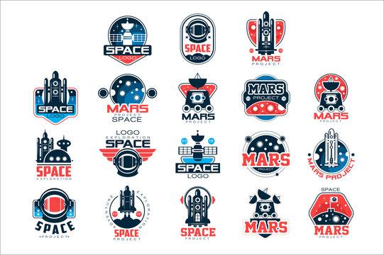 Mars project labels set, Mars colonization program vector Illustrations