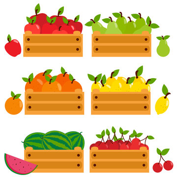 Fruits in wooden crates. Apples, pears, lemons, cherries, oranges and watermelons.