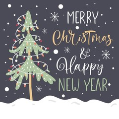 Merry Christmas and Happy new Year Greeting Card Vector Template. Christmas tree. Handwritten modern brush lettering.
