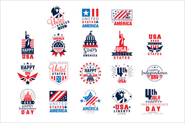 United states of America logo templates set, Happy Independence Day badges vector Illustrations