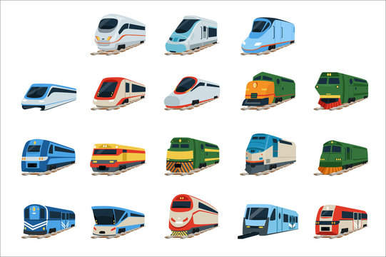 Retro and modern trains locomotive set, railway carriage vector Illustrations