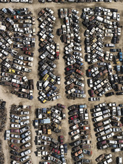 Aerial view old cars in junkyard, Bakersfield, California, USA