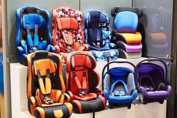 Baby car seats in store