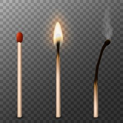 Matches. Burning match, burned match. Vector illustration