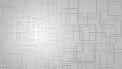Abstract background of intersecting squares with shadows in gray colors