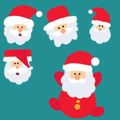 vector, isolated, new year, person santa claus, set