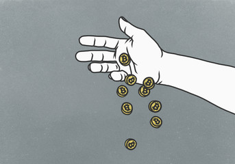 Man dropping Bitcoins