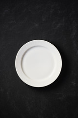 White plate in black background