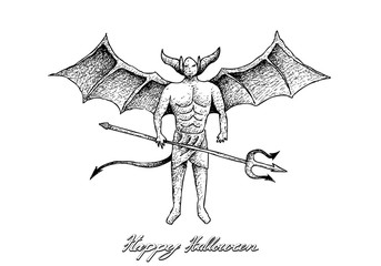 Holidays And Celebrations, Illustration Hand Drawn Sketch of Devil Satan. Sign for Halloween Celebration.