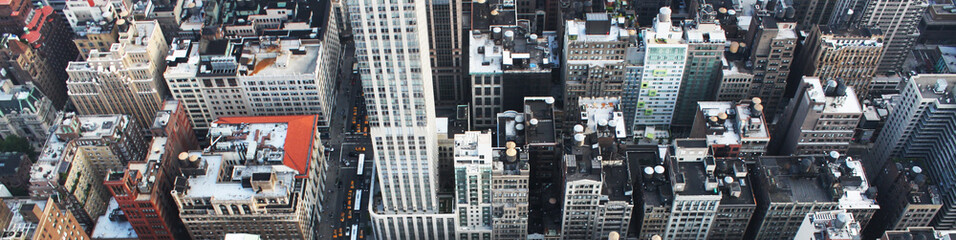 Banner for heading of New York top view cityscape with skyscrapers. Concept of blog heading for American websites.