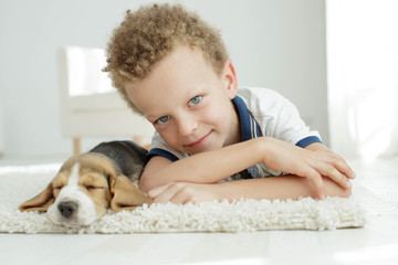 Child with a dog